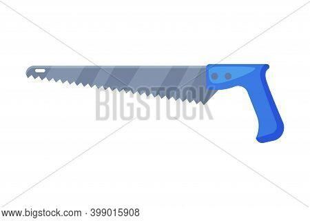Saw With Tough Blade With Hard Toothed Edge Vector Illustration