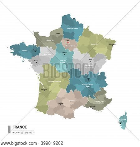 France Higt Detailed Map With Subdivisions. Administrative Map Of France With Districts And Cities N
