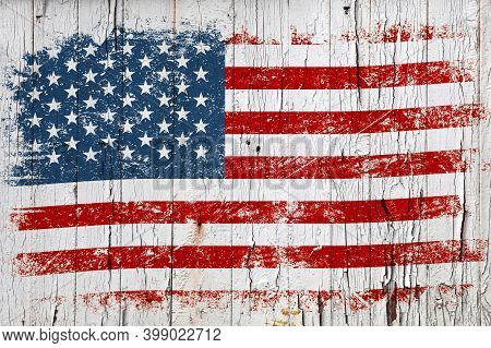 Grunge American Flag On Old Weathered White Painted Wooden Surface Background