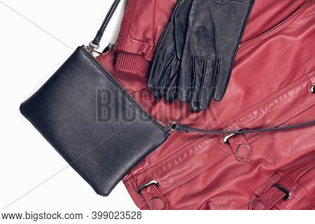 Winter Female Outfit Idea. Red Fake Leather Jacket And Gloves And Black Crossbody Bag. Biker Style L