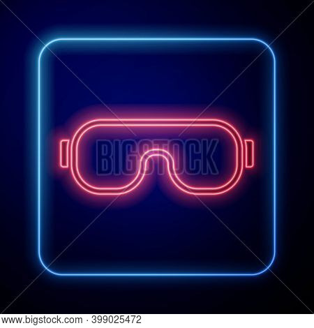 Glowing Neon Ski Goggles Icon Isolated On Blue Background. Extreme Sport. Sport Equipment. Vector