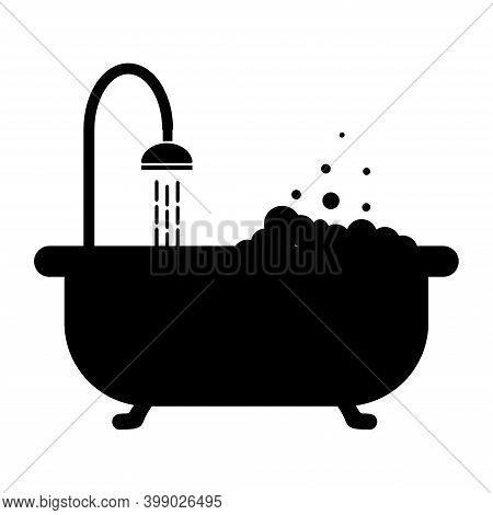 Web Icons Bathtub, Shower, Douche. Bathroom With Shower And Foam.