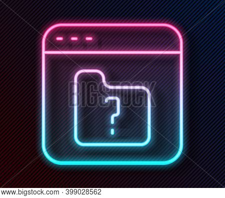 Glowing Neon Line File Missing Icon Isolated On Black Background. Vector