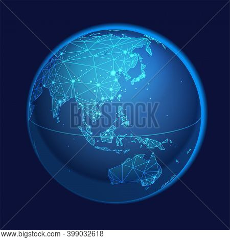 Global Network System Concept Illustration. China, Eastern Asia, Australia Centered Map. Blue Planet