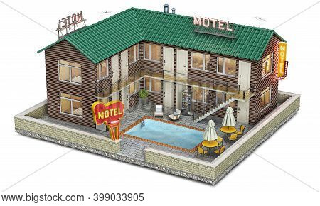 A Roadside Motel Building With Pool On A Courtyard, 3d Illustration