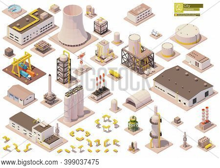 Vector Isometric Factory Buildings And Machinery Set. Factory Or Plant Buildings, Equipment, Pipes,