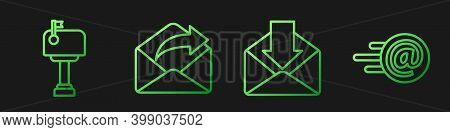 Set Line Envelope, Mail Box, Outgoing Mail And Mail And E-mail. Gradient Color Icons. Vector