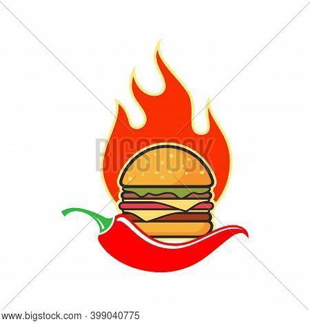 Hot Chili Spicy Burger Icon Flat Logo Vector Design Concept