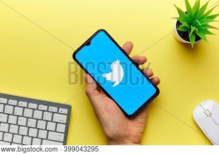 Twitter Social Network Logo On Mobile Phone Screen. Russia, St.petersburg, 8 December 2020.