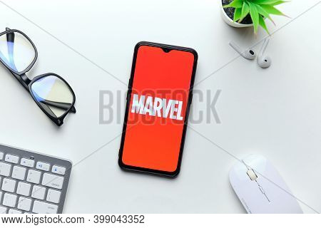 Marvel Company Publishes Comics On Mobile Phone. Russia, St.petersburg, 8 December 2020.