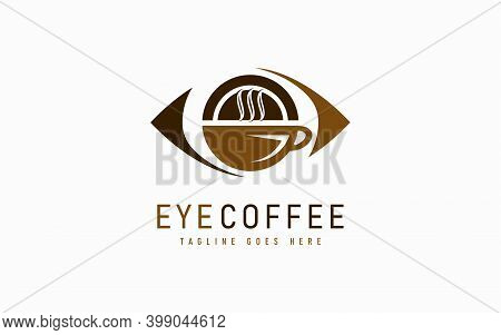Eye Coffee Logo Design. Abstract Eye Combine With Coffee Cup Symbol, Usable For Usable For Business,