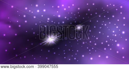 Galaxy Space With Shiny Nebula  Star Dust. Purple Mysterious Night Sky, Light Flare And Cloudy Mist.