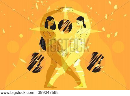 Vector Illustration Of Two Beautiful Women Celectial Goddess Holding Burning Sun Or Star. Concept Of