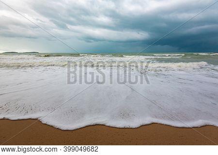 Huge Waves On Lamai Beach On Koh Samui Island In Thailand, Tsunami In The Gulf Of Thailand, Storm Cl