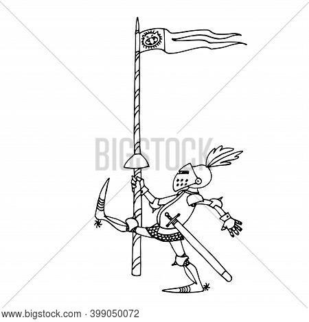 Funny Medieval Knight In Metal Armor With A Spear And A Helmet With Feathers Walks, Vector Illustrat