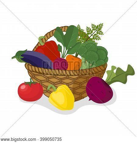 Basket With Vegetables. Harvest Vegetables Organic Healthy Food. Vegetables And Greens, Salad Pepper