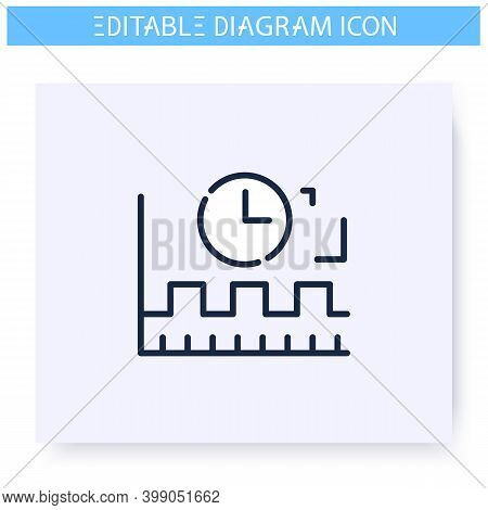 Timing Diagram Line Icon. Timeline Chart. Business, Management Or Workflow Visualisation. Infographi