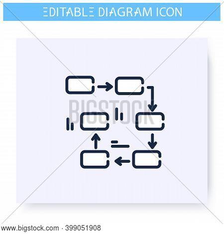Flow Diagram Line Icon. Process Chart Module. Business, Management, Structure Visualisation. Infogra