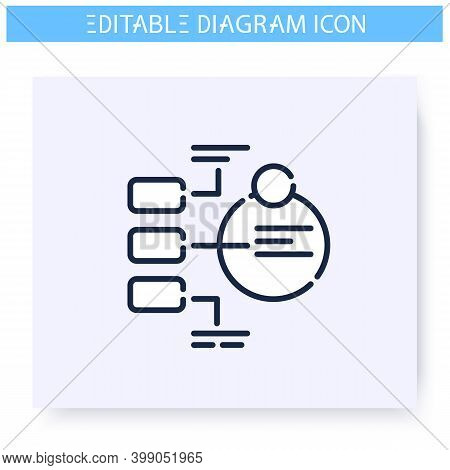 Explanatory Diagram Line Icon. Information Banner. Business, Management, Structure Visualisation. In