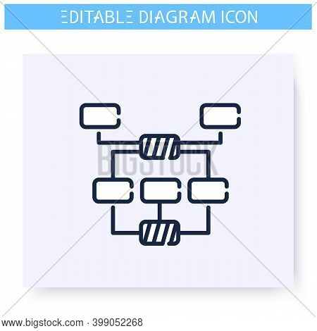 Tree Diagram Line Icon. Information Graphic. Business, Management, Structure Visualisation. Infograp