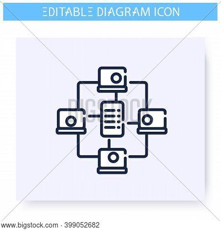 Network Diagram Line Icon. Information Graphic. Business, Management, Structure Visualisation. Infog