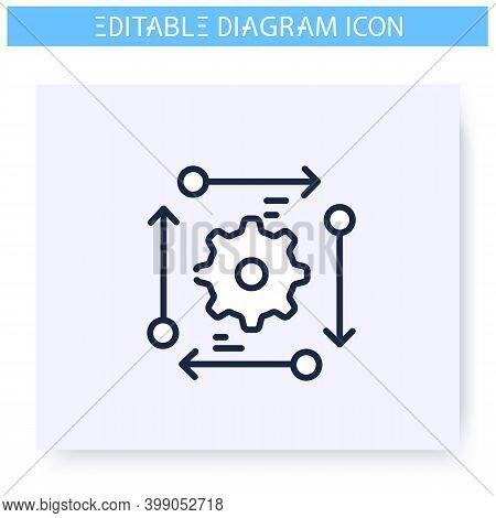 Process Diagram Line Icon.development Graphic. Business, Management, Structure Visualisation. Infogr