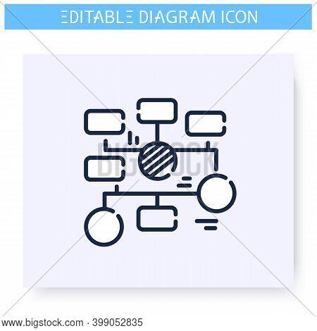 Flowchart Line Icon. Information Graphic. Business, Management, Structure Visualisation. Infographic