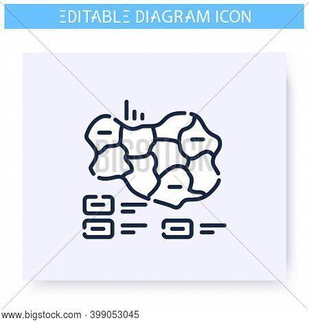 Cartogram Line Icon. Geographic, Governmental And Sociological, Visualization. Infographic, Presenta