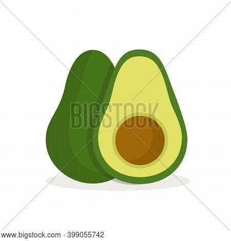 Avocado Fruit Isolated On White Background. Avocado In Flat Style. Vector Stock