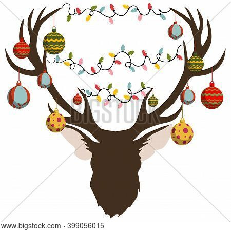 Christmas Themed Elk Head Decorated With Balls And Garland
