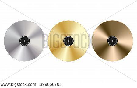 Gold, Platinum And Bronze Record Award, 3d Vector Illustration