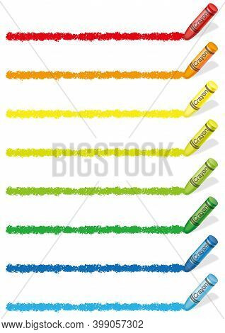 Set Of Colorful Crayon Borders Isolated On A White Background. Vector Illustration.