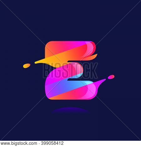 E Letter Logo With Vibrant Wave Gradient Shift. Vector Font Perfect To Use In Any Disco Labels, Dj C
