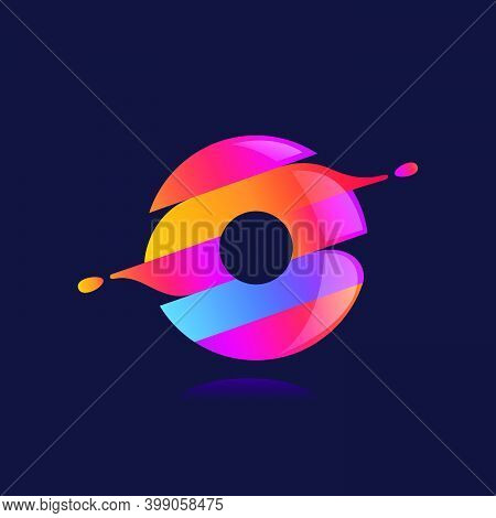 O Letter Logo With Vibrant Wave Gradient Shift. Vector Font Perfect To Use In Any Disco Labels, Dj C