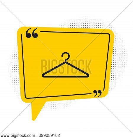 Black Hanger Wardrobe Icon Isolated On White Background. Cloakroom Icon. Clothes Service Symbol. Lau