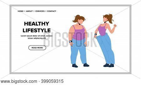 Healthy Lifestyle For Lose Weight Woman Vector