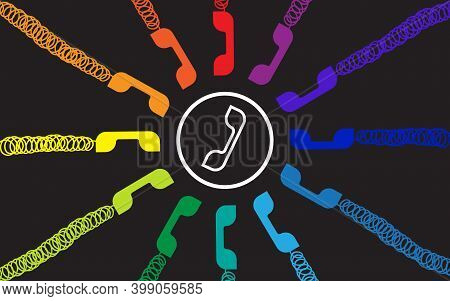 Colorful Group Of Handset Telephone Icon. Colorful Flat Design Vector Illustration