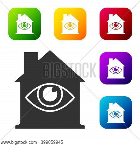 Black House With Eye Scan Icon Isolated On White Background. Scanning Eye. Security Check Symbol. Cy