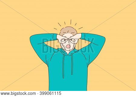 Losing Mind, Facial Expression, Weird Behaviour Concept. Young Man In Green Hoodie Feeling Crazy Cov