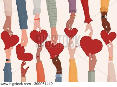 Concept Of Charity Donation And Help Or Social Assistance.voluntary Hands That Donate A Heart To Oth