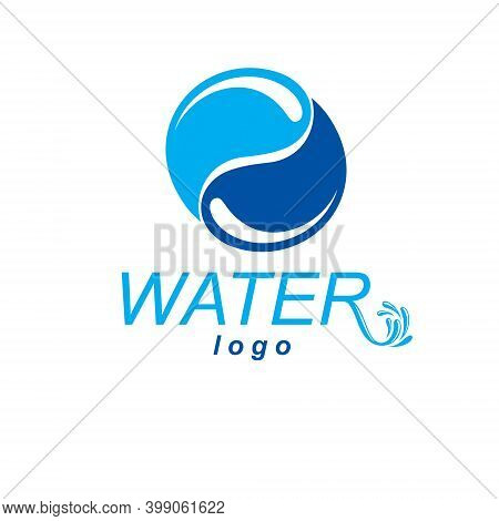 Global Water Circulation Vector Logo For Use As Marketing Design Symbol. Human And Nature Harmony Co
