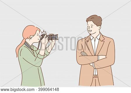 Paparazzi, Success, Fame Concept. Young Woman Photographer Cartoon Character Taking Photo Of Success