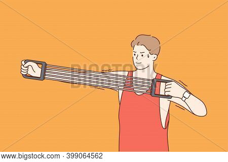 Expander In Sport And Training Concept. Sportsman Athlete Cartoon Character Stretching Expander And