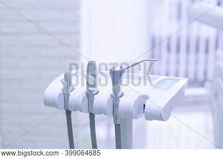 Dental Appliances In The Dentist's Office. Dentistry, Dental Care, Healthy Teeth Concept