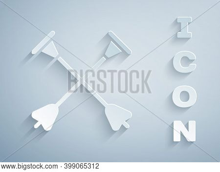 Paper Cut Arrow With Sucker Tip Icon Isolated On Grey Background. Paper Art Style. Vector