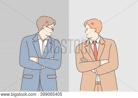 Business Competition And Confrontation During Work Concept. Two Young Men Businessmen Standing With