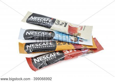 Pula, Croatia - December 10, 2020: Four Nescafe Original Instant Coffee Sachets. The Brand Of Instan