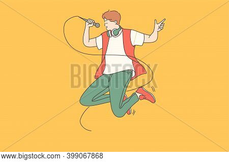Singer, Hipster, Positive Lifestyle Concept. Crazy Hipster Guy Music Lover Or Singer Jumping High Wi