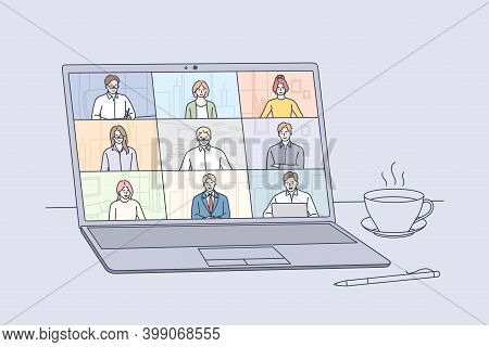 Online Meeting, Virtual Conference And Video Call Concept. Laptop Screen With People Partners Meetin