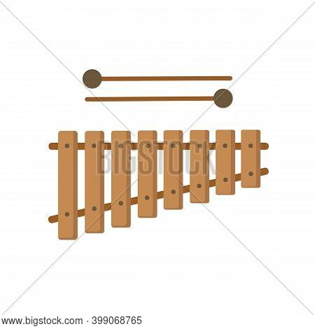Xylophone Musical Instrument. Children\'s Xylophone Isolated On White Background.  Vector Stock